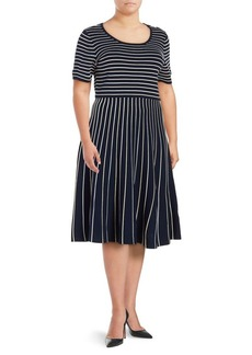 JONES NEW YORK Plus Two-Tone Fit-and-Flare Dress