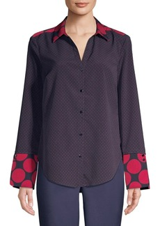 JONES NEW YORK Polka Dot Paneled Blouse