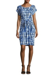 JONES NEW YORK Printed Cap-Sleeve Dress