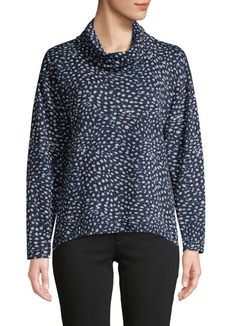 JONES NEW YORK Printed Cowlneck Top