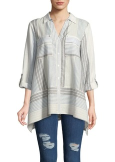 JONES NEW YORK Printed Flare Hem Shirt
