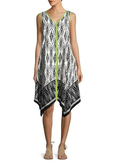 JONES NEW YORK Printed Handkerchief-Hem Dress
