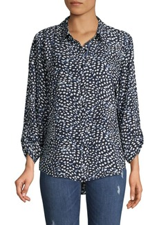 JONES NEW YORK Printed High-Low Shirt