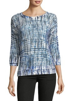 JONES NEW YORK Printed Quarter-Sleeve Top