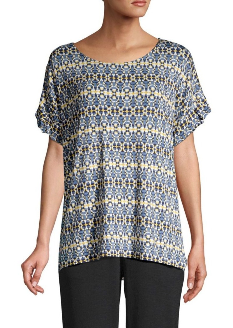 JONES NEW YORK Printed Ruffled-Sleeve Top
