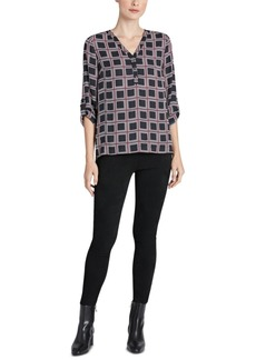 Jones New York Printed Tab-Sleeve Top