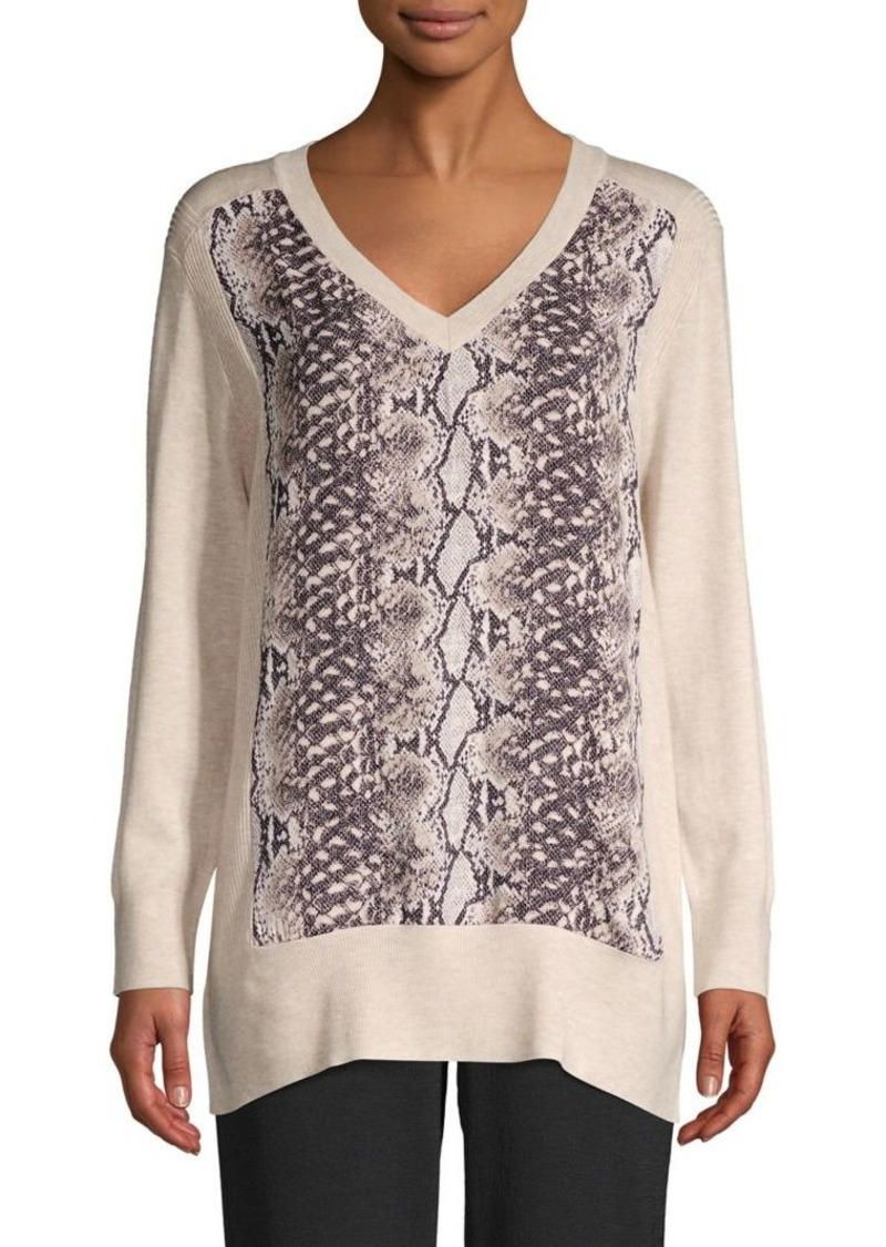 JONES NEW YORK Printed V-Neck Sweater