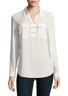 JONES NEW YORK Laced Grommet Utility Blouse