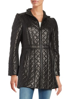 JONES NEW YORK Quilted Leather Walker Coat