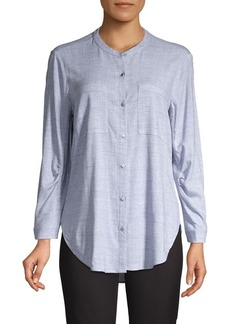 JONES NEW YORK Roundneck Pleat-Sleeve Shirt