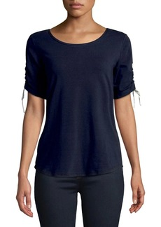 JONES NEW YORK Short Sleeve Cinched Top