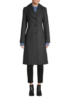 JONES NEW YORK Single-Breasted Wool-Blend Reefer Coat