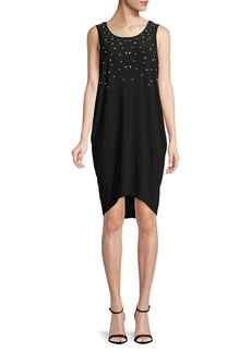 JONES NEW YORK Sleeveless Faux Pearls Cocoon Dress