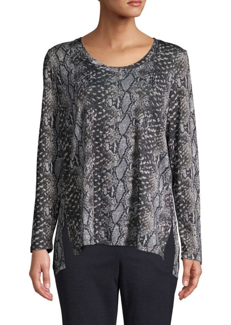 JONES NEW YORK Snake-Print Step Hem Top