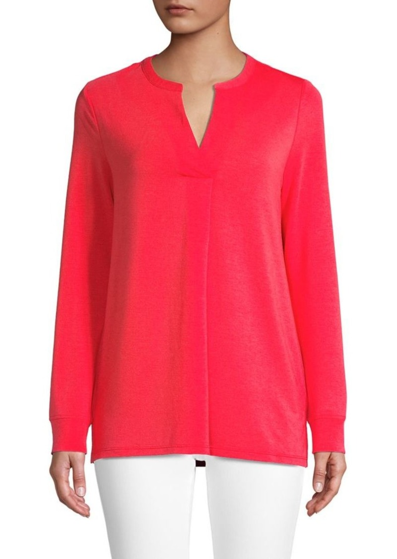 JONES NEW YORK Split-Neck Long-Sleeve Top