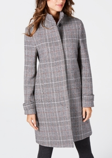 Jones New York Stand-Collar Plaid Coat