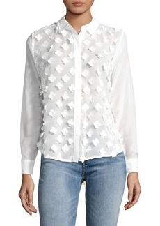 JONES NEW YORK Stitched Floral Petal Blouse