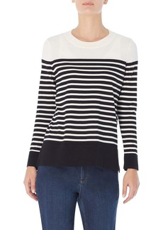 Jones New York Stripe Crewneck Sweater