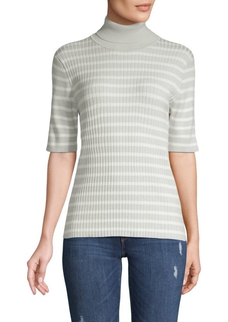 JONES NEW YORK Stripe Ribbed Short-Sleeve Sweater