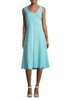 JONES NEW YORK Stripe Twisted A-Line Dress
