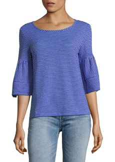 JONES NEW YORK Striped Bell-Sleeve Hi-Lo Top