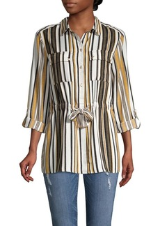 JONES NEW YORK Striped Drawstring Utility Shirt