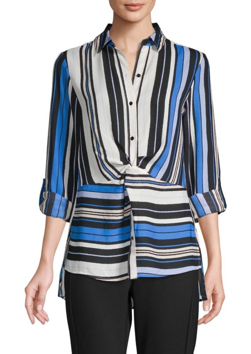 JONES NEW YORK Striped Front-Twist Shirt