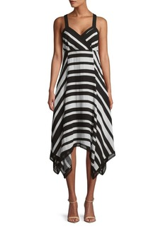 JONES NEW YORK Striped Handkerchief Dress