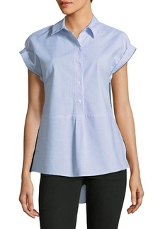 JONES NEW YORK Striped Hi-Lo Peplum Blouse