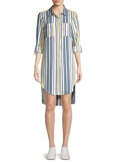 JONES NEW YORK Striped High-Low Shirtdress