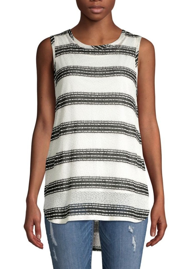 JONES NEW YORK Striped Pleat-Back Tank