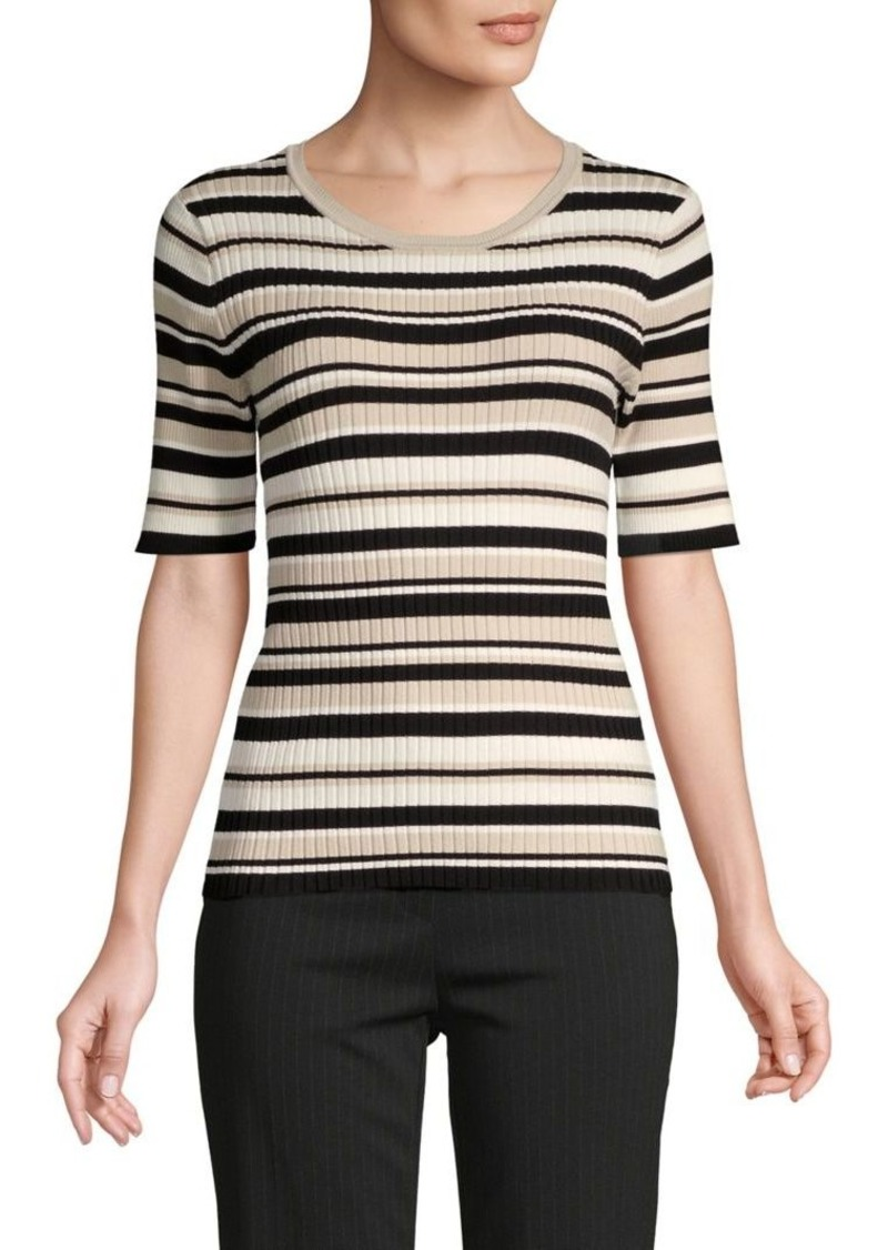 JONES NEW YORK Striped Ribbed Knit Top