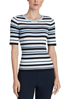 Jones New York Striped Ribbed Top