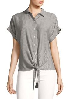 JONES NEW YORK Striped Short Sleeve Tie Hem Top