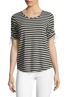 JONES NEW YORK Striped Short Sleeve Top