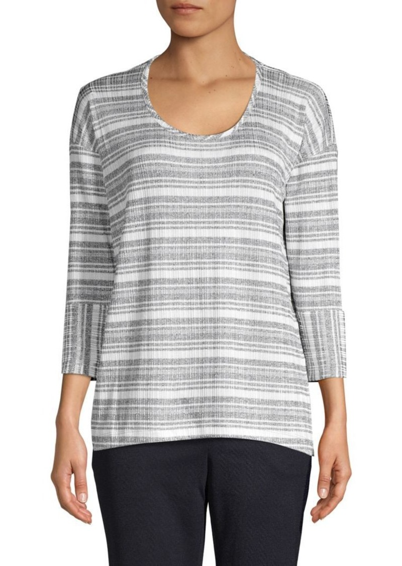 JONES NEW YORK Striped Three-Quarter Sleeve Top