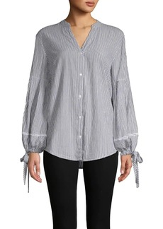 JONES NEW YORK Striped Tie Cotton Blouse