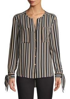 JONES NEW YORK Striped Tie-Cuff Shirt
