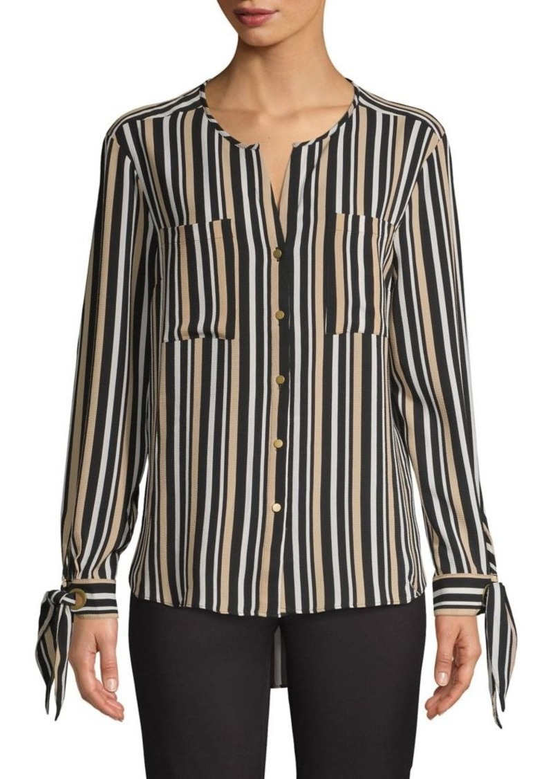 JONES NEW YORK Striped Tie-Cuff Shirt