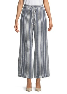 JONES NEW YORK Striped Wide-Leg Linen Pants