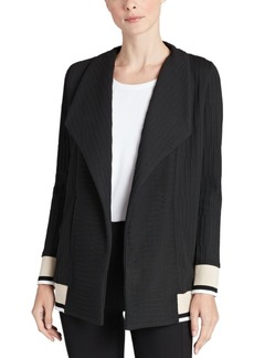 Jones New York Textured Wing-Lapel Cardigan
