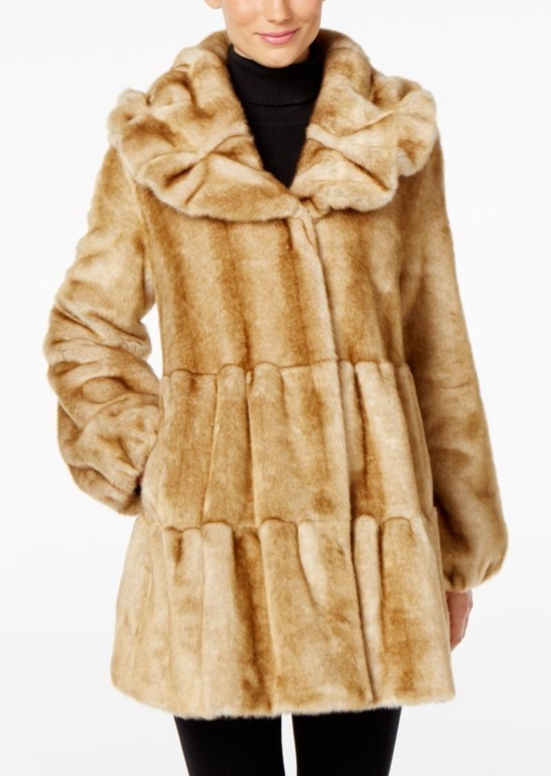 Jones New York Tiered Faux-Fur Walker Coat