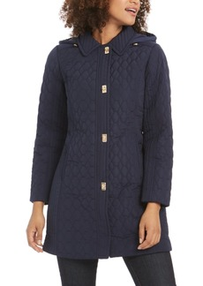 Jones New York Turn Key Hooded Quilted Raincoat