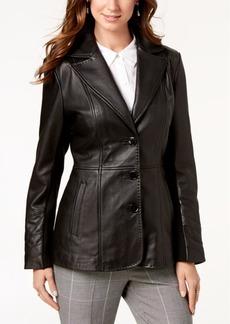 Jones New York V-Stitched Leather Jacket