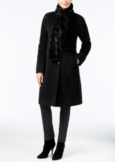 Jones New York Walker Coat with Faux-Fur Scarf