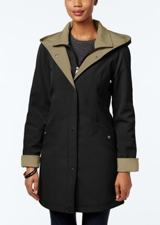 Jones New York Water-Resistant Hooded Colorblocked Raincoat