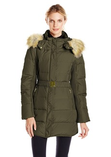 Jones New York Women's 32 inch Down Coat with Belt and Side Panels