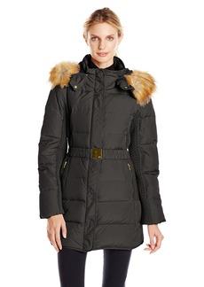 Jones New York Women's 32 inch Down Coat with Belt and Side Panels