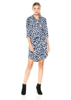 Jones New York Women's 3/4 Roll SLV Print Lace Up Shirtdress