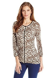 Jones New York Women's 3/4 Sleeve Crew Neck Cardigan